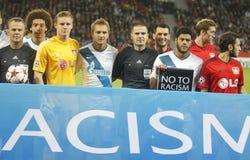NO TO RACISM Bayer 04 Leverkusen v Zénith Saint-Pétersbourg Champion League Royalty Free Stock Photos