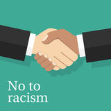 No to racism concept. Handshake of two men of different nationalities. Vector illustration flat design. Multiracial friendship of peoples royalty free illustration