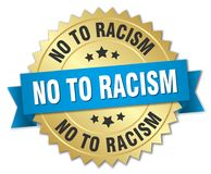 No to racism. Gold badge with blue ribbon vector illustration