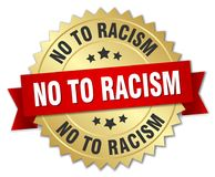 No to racism. Gold badge with red ribbon royalty free illustration