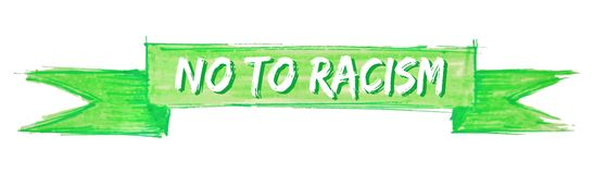 No to racism ribbon. No to racism hand painted ribbon sign vector illustration