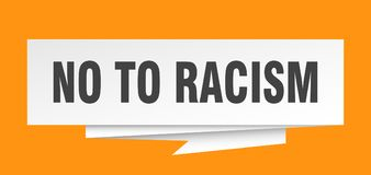 No to racism. Sign.  paper origami speech bubble.  tag.  banner royalty free illustration