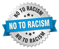 No to racism. Silver badge with blue ribbon stock illustration