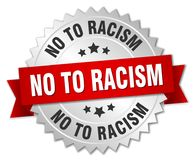 No to racism. Silver badge with red ribbon royalty free illustration