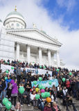 No To Racism. People on the demonstration against racism in Helsinki Royalty Free Stock Photography