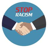 No to racism poster. Discrimination symbol. Handshake icon. Vector illustration. No to racism poster. Discrimination symbol. Handshake icon. Vector royalty free illustration