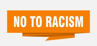 No to racism. Sign.  paper origami speech bubble.  tag.  banner stock illustration