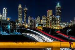 No to Trump with view of Atlanta, GA stock photo