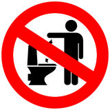 No toilet littering vector sign. Illustration Stock Photo