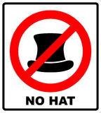 No Top hat sign. Vector illustration, text in red circle Royalty Free Stock Photo