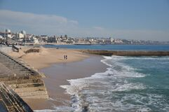 Free  No Tourists After Covid19 Sea Walk Along The Beach Cascais And Estoril Portugal Royalty Free Stock Photos - 197135248