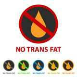 No Trans Fat Icon - Different Colors. Vector Illustration - Isolated On White Background Royalty Free Stock Images