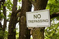 No Trepassing Sign indicating in the countryside Royalty Free Stock Images