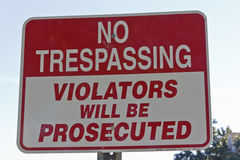No Trespassing. Sign on property Stock Image