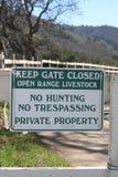 No trespassing. Keep gate closed no trespassing Royalty Free Stock Image