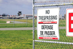 No Trespassing and Airport Royalty Free Stock Image