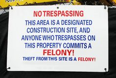 No Trespassing Construction Site Sign royalty free stock photos