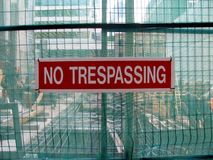 No trespassing as warning message Stock Photo