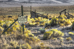 No Trespassing Desert Ranch Sign. Private landowners put up No Trespassing signs Stock Images