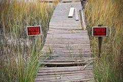 No Trespassing Dock. No Trespassing Signs Surrounding an Old Dock royalty free stock photos