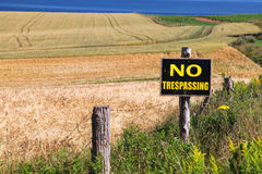No Trespassing Farm sign Stock Photo