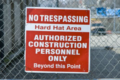 No trespassing hard hat area sign Royalty Free Stock Photos