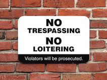 No Trespassing No Loitering Sign Stock Photography