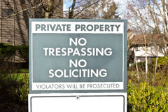 No Trespassing No Soliciting Stock Images