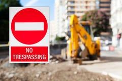 No trespassing, public works. Royalty Free Stock Photos