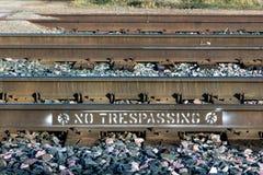 No Trespassing on Railroad Tracks Stock Image