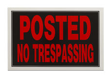 No Trespassing. Red and Black, Posted No Trespassing Sign Isolated on White Background Stock Photos