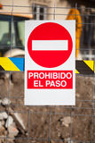 No trespassing. Restricted area. Text in spanish. Stock Photo
