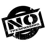 No Trespassing rubber stamp. Grunge design with dust scratches. Effects can be easily removed for a clean, crisp look. Color is easily changed Stock Image