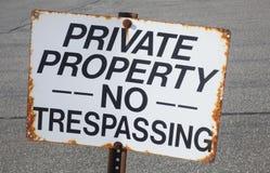 No Trespassing. A Rusty No Trespassing Sign Stock Images