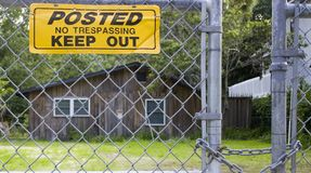 No Trespassing at Shack Royalty Free Stock Photos
