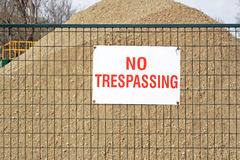 NO TRESPASSING sign at construction site Royalty Free Stock Images