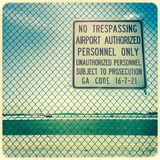 No trespassing sign on fence, Atlanta Hartsfield Airport Royalty Free Stock Photos