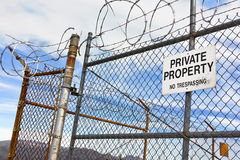 No Trespassing Sign on Fence Stock Photos