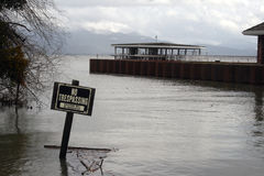 No trespassing sign in flood waters Stock Image