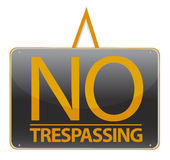 No trespassing sign illustration over a white back Royalty Free Stock Image