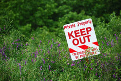 No Trespassing Sign In Field Stock Photos