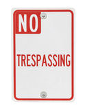 No Trespassing Sign Isolated Stock Photos