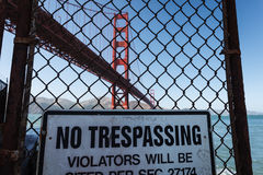 No trespassing sign at lands end Golden Gate Bridge Royalty Free Stock Photos
