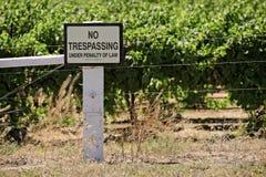 No trespassing sign near vineyard Stock Photography