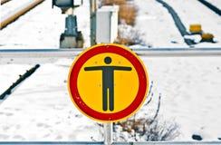 No trespassing sign at rails Royalty Free Stock Photography