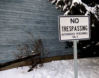 No Trespassing Sign in Winter Stock Image