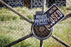No Trespassing signs on a gate Royalty Free Stock Photos