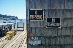 No Trespassing Signs on a lobster Shack Royalty Free Stock Photography