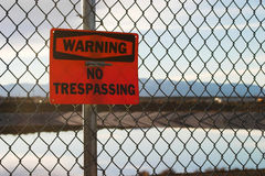No Trespassing Warning Sign. Warning No Trespassing sign Royalty Free Stock Photography