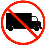 No trucks allowed. Sign isolated against a white background Royalty Free Stock Photography